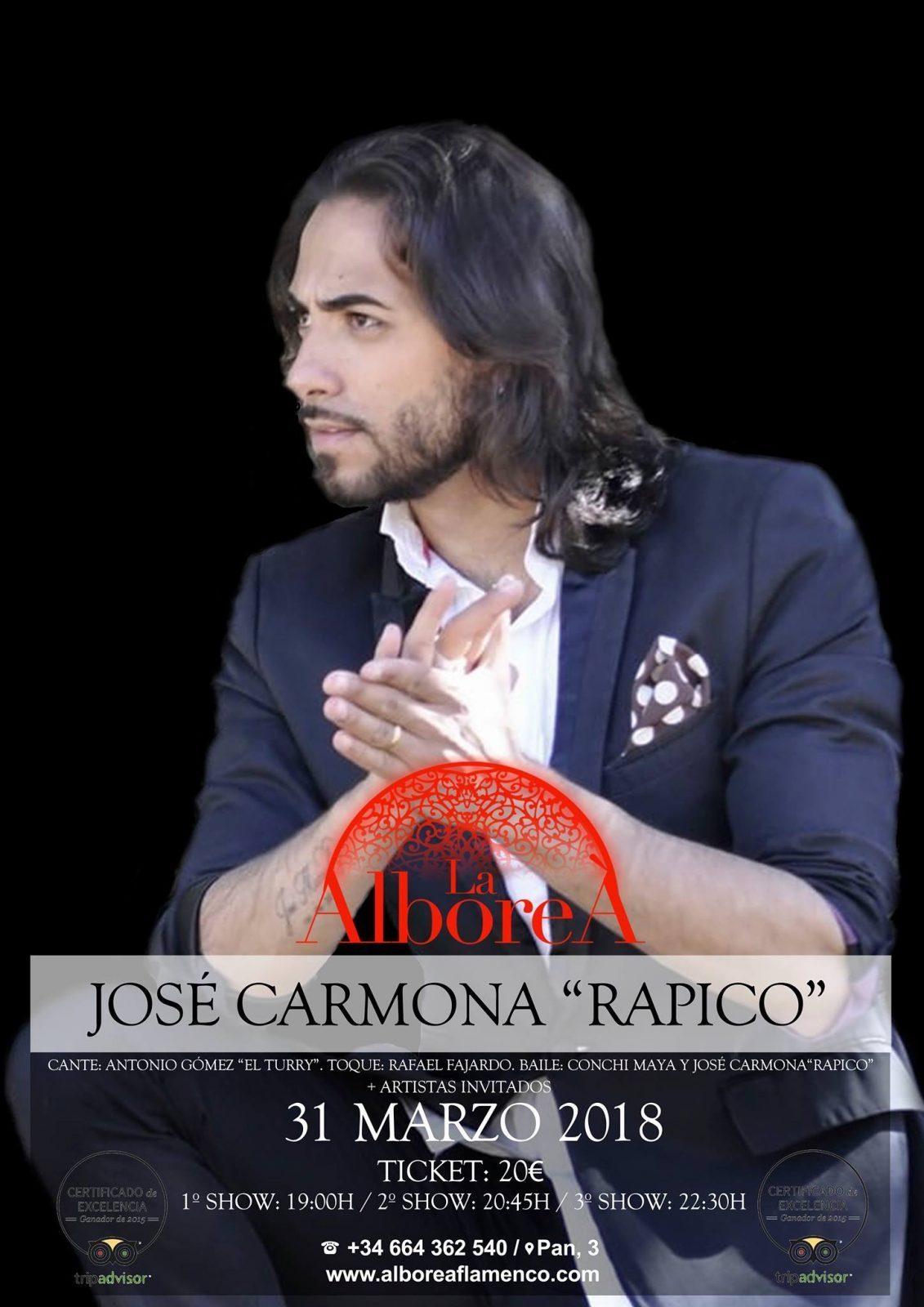 """Espectáculo de Flamenco Especial - Jose Carmona """"Rapico"""" Granada"""