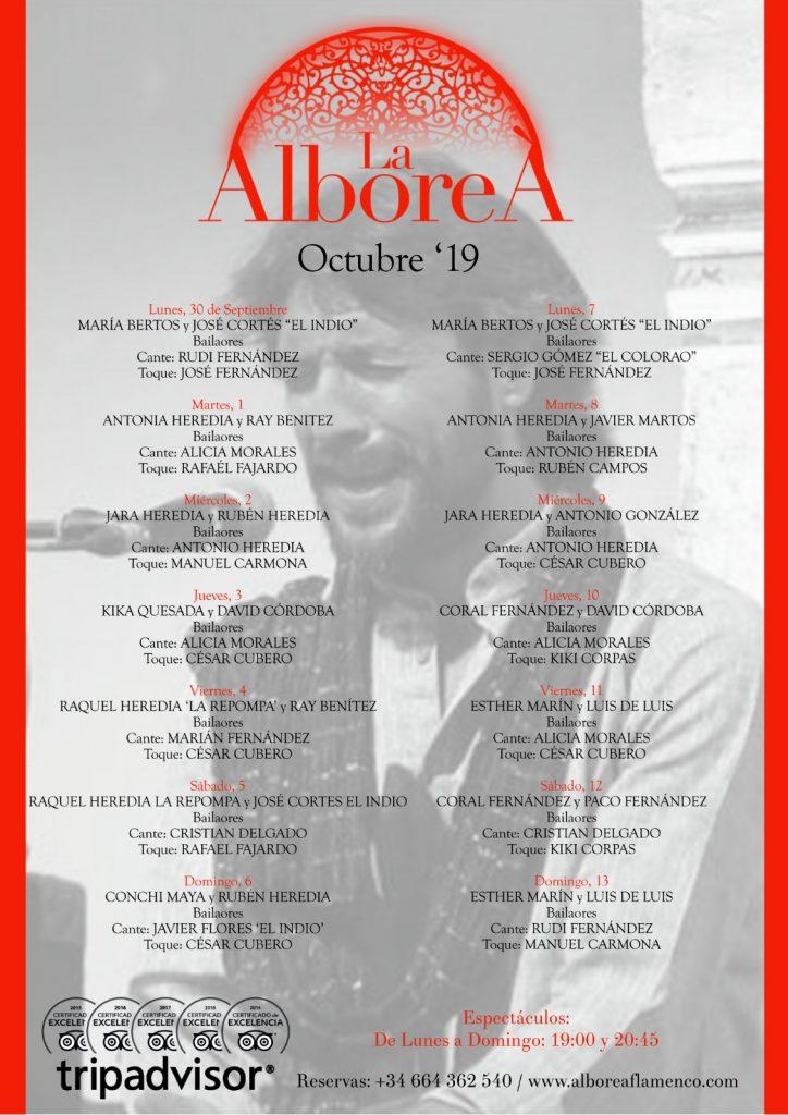 Programación Flamenco Granada Octubre 2019